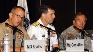 (L to R) Maj. Gen. John R. Allen, USMC; Rear Adm. Bruce W. Clingan, USN; Maj. Gen. David A. Fastabend, USA