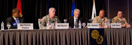 MCPOCG Vince Patton III, USCG (Ret.); MG Sean J. Byrne, USA; Dan Gardner; CMC Gregory Shaw, USN; SgtMaj Bryan B. Battaglia, USMC