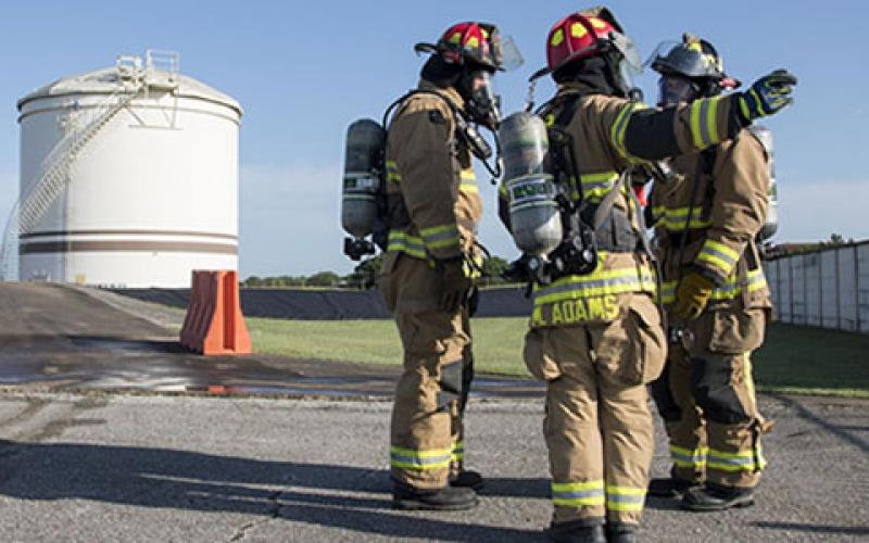 Firefighters from 502nd Civil Engineering Squadron at Joint Base San Antonio-Randolph conduct an exercise in June 2019 to improve the base's resiliency. The San Antonio region is also preparing for any possible electromagnetic pulse events, which could be detrimental to power and operations. Credit: U.S. Air Force photo by Sean M. Worrell