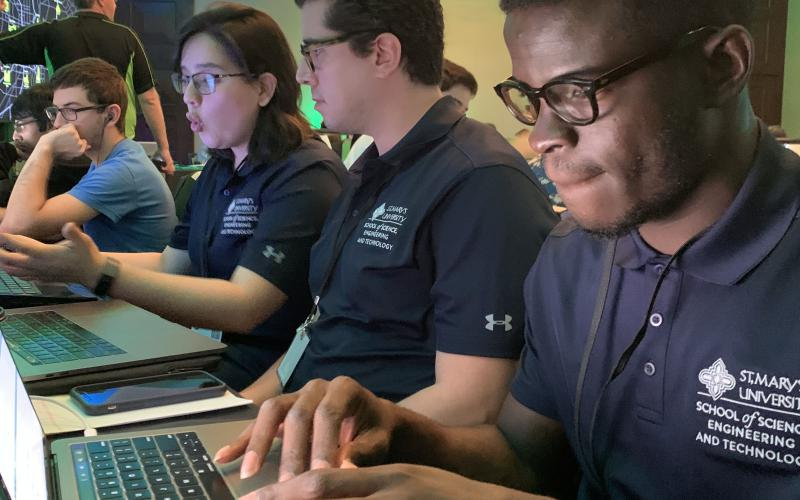 Students from St. Mary's University School of Science, Engineering and Technology compete at the Capture the Flag event sponsored by Deloitte at the AFCEA Alamo ACE event in November 2019. Photo Courtesy of Alamo AFCEA