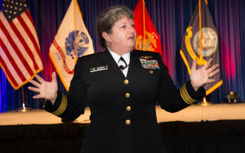 Rear Adm. Danelle Barrett, USN (Ret.), gives the keynote address at the Women's Appreciation Reception during West 2018. Credit: Michael Carpenter