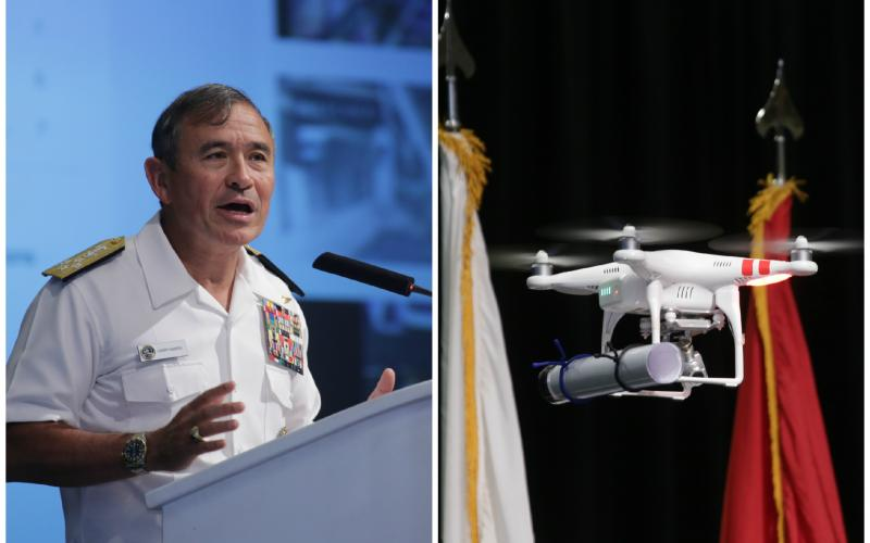 Adm. Harry B. Harris, USN, commander, U.S. Pacific Fleet, discusses the need for innovation to maintain U.S. superiority after receiving the text of his speech from a remote controlled drone.