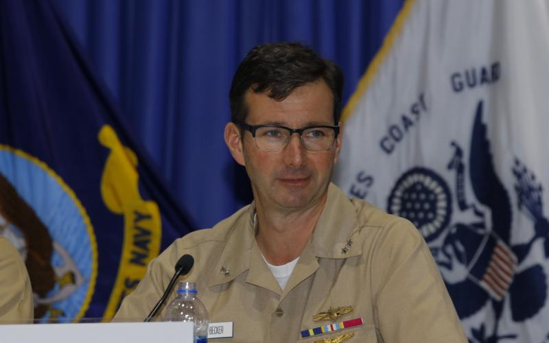 Rear Adm. Boris Becker, commander of the Space and Naval Warfare Systems Center, speaks during a panel at West 2019. Photo by Michael Carpenter