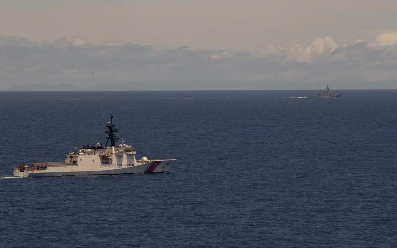 A U.S. Coast Guard cutter and a U.S. Navy Arleigh Burke-class destroyer patrol the Hawaiian Island operational area. All three sea services are modernizing amid budget constraints. Credit: MC2 Christian M. Huntington, USN