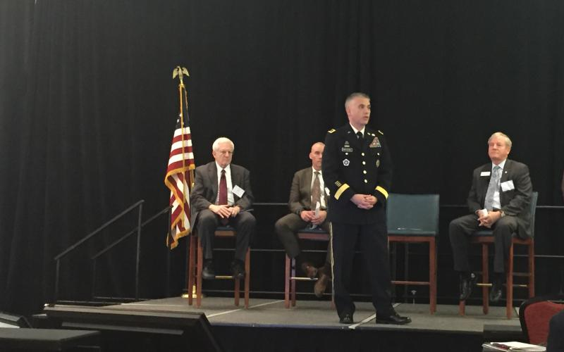 : Lt. Gen. Paul Nakasone, USA, Army Cyber Command, gives an overview of the Army's cyber training and education during an afternoon plenary address at the Cyber Education, Research and Training Symposium in Augusta, Georgia.