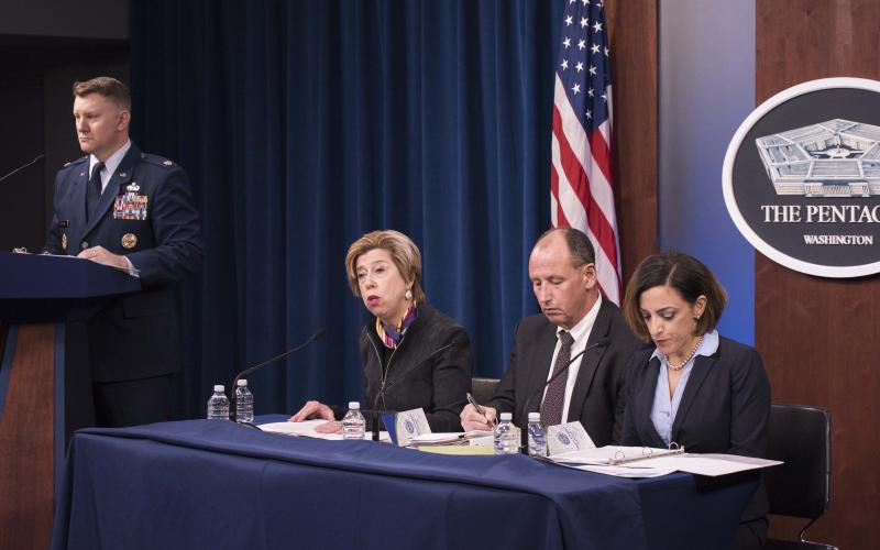 Katie Arrington (r), chief information security officer, office of the undersecretary of defense for acquisition, U.S. Defense Department, and other Pentagon acquisition officials brief reporters on cybersecurity standards for government. Photo by Petty Officer 2nd Class James K. Lee, USN