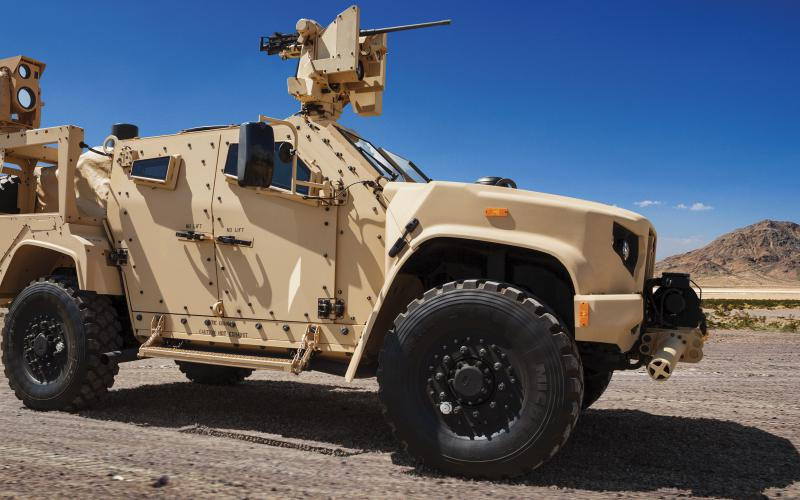 The U.S. Marine Corps has elected to continue the use of and maintain Boeing's Compact Laser Weapons System, pictured installed on a Joint Light Tactical Vehicle. Credit: Boeing