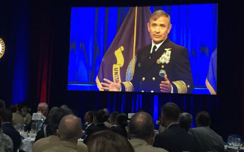 "Adm. Harry Harris, USN, commander of U.S. Pacific Command, delivers a keynote address at West 2017 in San Diego, saying the U.S. military needs more ""exponential thinking"" among its ranks."