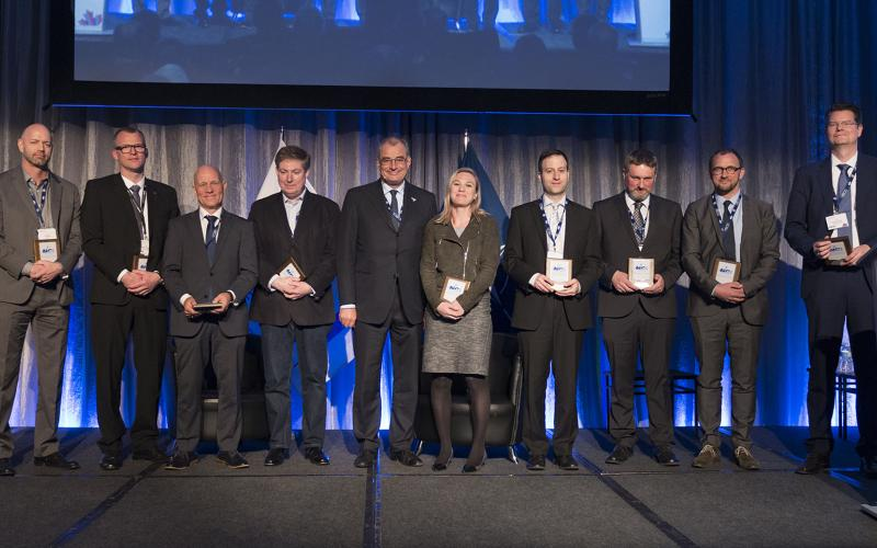 Several leaders from academia and industry accept awards for the NCI Agency's Defence Innovation Challenge.