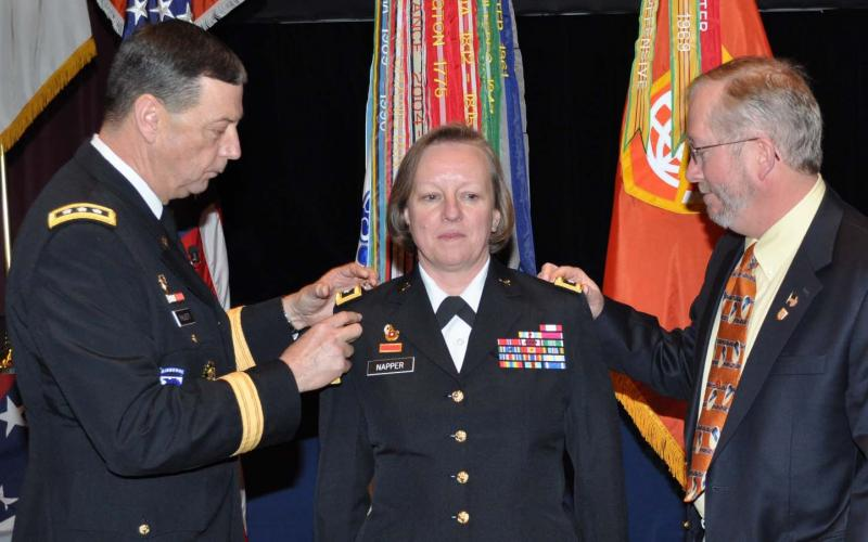 Maj. Gen. Jennifer Napper, USA (Ret.), receives her second star. The retired general says she was glad to find the same can-do attitude in industry as in the Army.