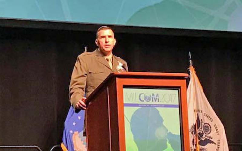 Brig. Gen. Dennis Crall, USMC, director C4/CIO, speaks at MILCOM in Baltimore.