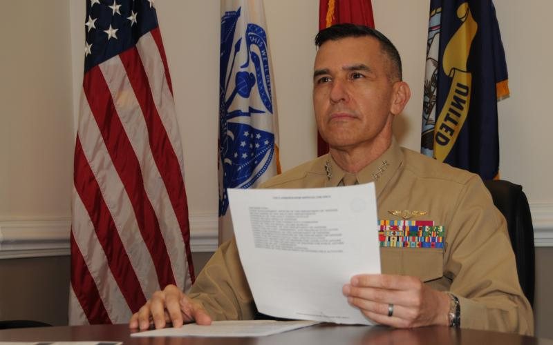 Lt. Gen. Dennis Crall, USMC, director for Command, Control, Communications, and Computers/Cyber and chief information officer, the Joint Staff; J-6, pictured working at the Pentagon in December, sees allies and partners, and the associated Mission Partner Environment, as crucial aspects of joint all domain warfighting. Credit: Photo courtesy of The Joint Staff Public Affairs