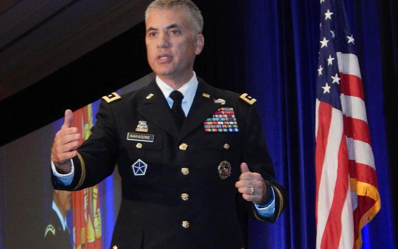 Lt. Gen. Paul Nakasone, USA, commanding general, U.S. Army Cyber Command, speaks at TechNet Augusta 2017.