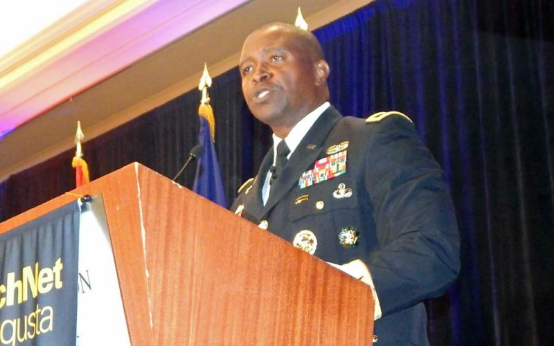Maj. Gen. (P) Bruce Crawford, USA, the Army's chief information officer/G-6, speaks at TechNet Augusta.