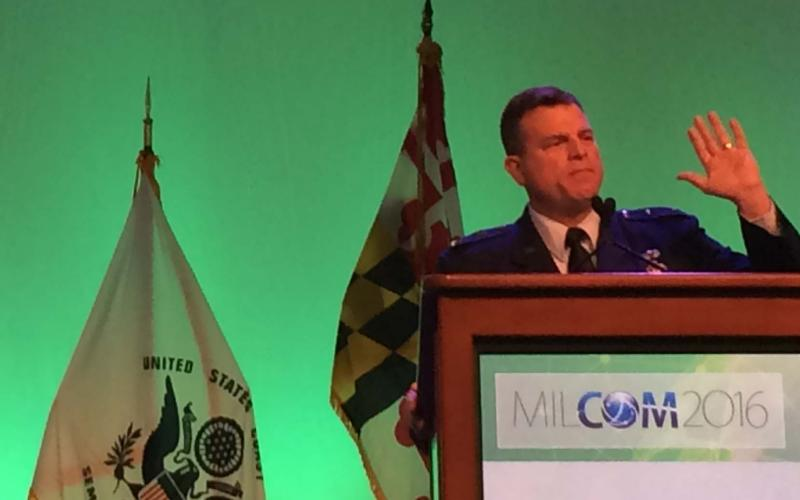 Maj. Gen. Dwyer Dennis, USAF, addresses attendees on the final day of MILCOM 2016 in Baltimore.