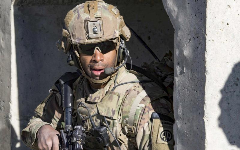 An Army paratrooper provides security during a mission in southeastern Afghanistan, Dec. 29, 2019. The service is discontinuing the Asymmetric Warfare Group and the Rapid Equipping Force as part of the shift from counterinsurgency operations to multi-domain operations. Photo by: Army Master Sgt. Alejandro Licea