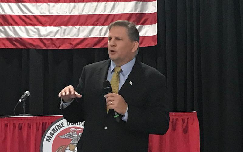 James Geurts, assistant secretary of the Navy, speaks at the recent Modern Day Marine event in Quantico, Virginia.