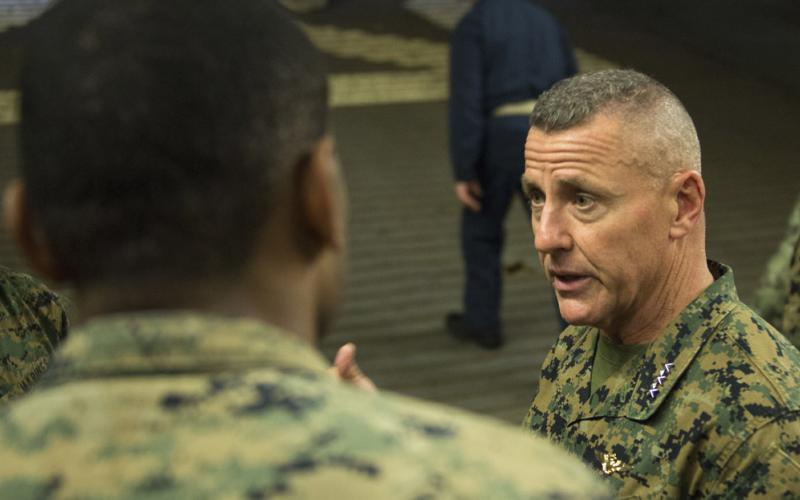 Lt. Gen. Robert F. Hedelund, USMC, commander, U.S. Marine Corps Forces Command, speaks to Marines with the 26th Marine Expeditionary Unit aboard the amphibious assault ship USS Bataan during Composite Training Unit Exercise (COMPTUEX) in the Atlantic Ocean. U.S. Marine Corps photo by Cpl. Nathan Reyes