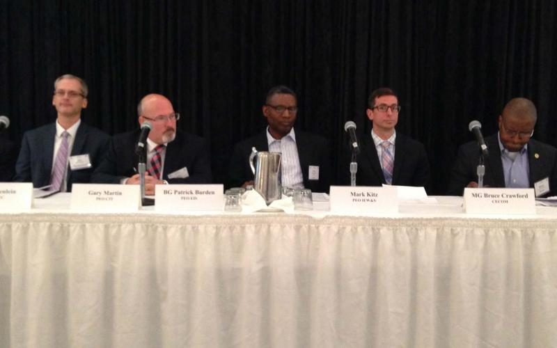 The PEO panel at the Army Signal Conference discusses technology needs for communications-electronics systems.