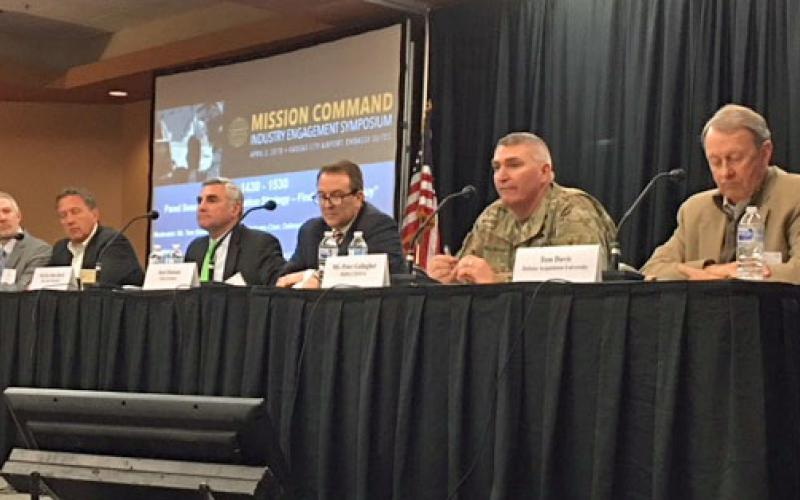 Panelists discuss the Army's Modernization Strategy at the AFCEA Mission Command Industry Engagement Symposium.