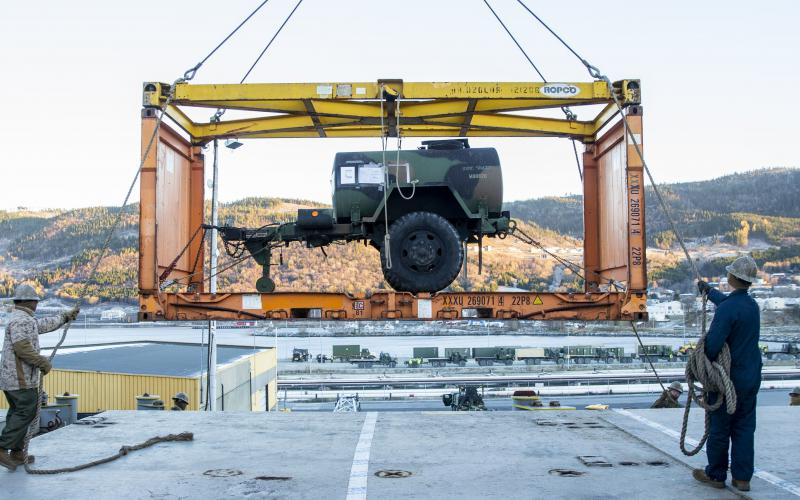 U.S. Marines assigned to 2nd Marine Aircraft Wing offload equipment from the aviation logistic ship S.S. Wright during Exercise Trident Juncture 18 at Orkanger Port, Norway. The exercise enhances the U.S. and NATO Allies' and partners' abilities to work together collectively to conduct military operations under challenging conditions. Credit: U.S. Marine Corps photo by Lance Cpl. Cody J. Ohira