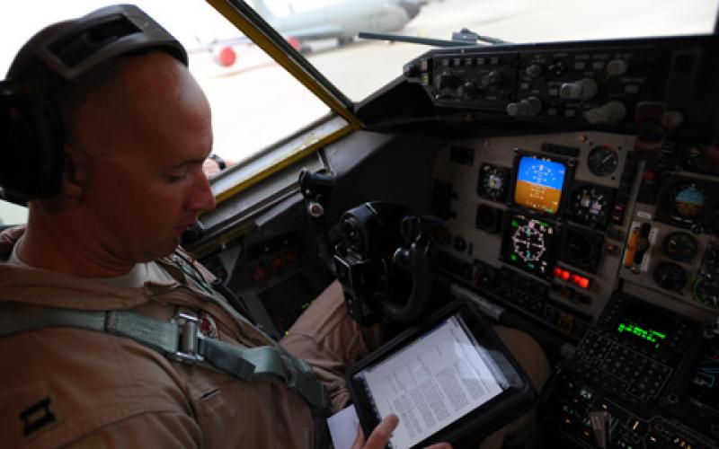 Complete electronic flight bags have been under development since 2010; however, U.S. Air Force personnel like Capt. Brett Pierson, USAF, have been using tablets as early as 2011 during preflight checks aboard a KC-135 Stratotanker aircraft bound for refueling missions in Afghanistan.