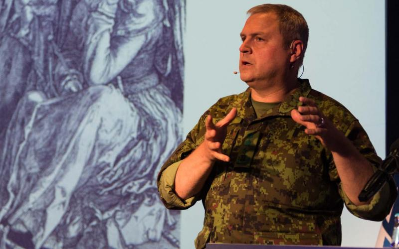 Lt. Gen. Riho Terras, commander of Estonian Defense Forces, warns that Europe is too reactionary to world events while speaking at the NITEC 2016 cyber conference in Tallinn, Estonia. Photo by Marcos Fernandez Marin, NCI Agency