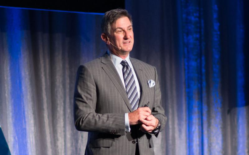 Mark Anderson, president of Palo Alto Networks, describes cybersecurity threats and solutions to the audience at NITEC 2017 in Ottawa.
