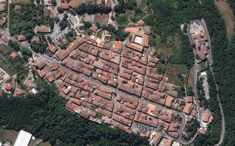 Amatrice, Italy, as seen on August 9, 2010. Image collected by WorldView-2. © European Space Imaging