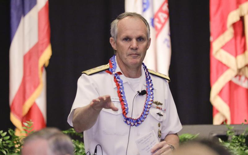 Rear Adm. Phillip Sawyer, USN, deputy commander, U.S. Pacific Fleet, summarizes the state actor threats to the United States during AFCEA TechNet Asia-Pacific in Honolulu. Photo by Bob Goodwin