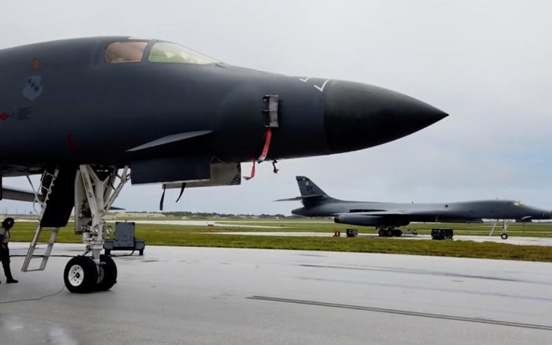 Two scores of airmen and four B-1B Lancers from Dyess Air Force Base, Texas, arrive at Andersen Air Force Base, Guam in May to conduct missions in the Indo-Pacific theater, supporting the Pacific Air Forces' training with allies and partners and performing strategic deterrence missions to reinforce the rules-based international order in the region. Credit: PACAF Public Affairs/Tech. Sgt. David Scott-Gaughan