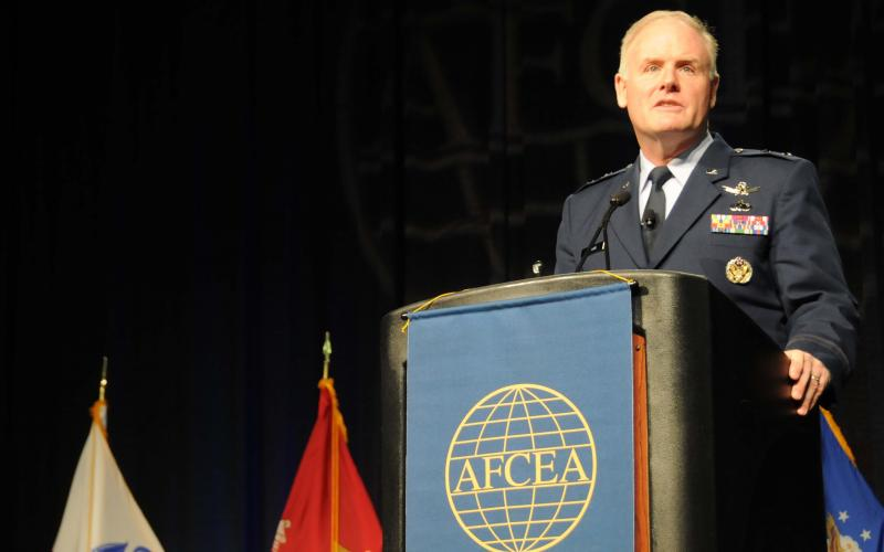 Maj. Gen. Roger Teague, USAF, director of space programs in the Office of the Assistant Secretary for Acquisition for the U.S. Air Force, discusses future programs at AFCEA's TechNet Air symposium.