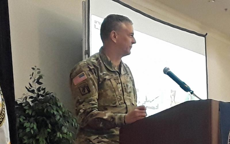 Gen. Stephen Townsend, USA, commander, Army Training and Doctrine Command, speaks at the AFCEA Army Signal Conference.
