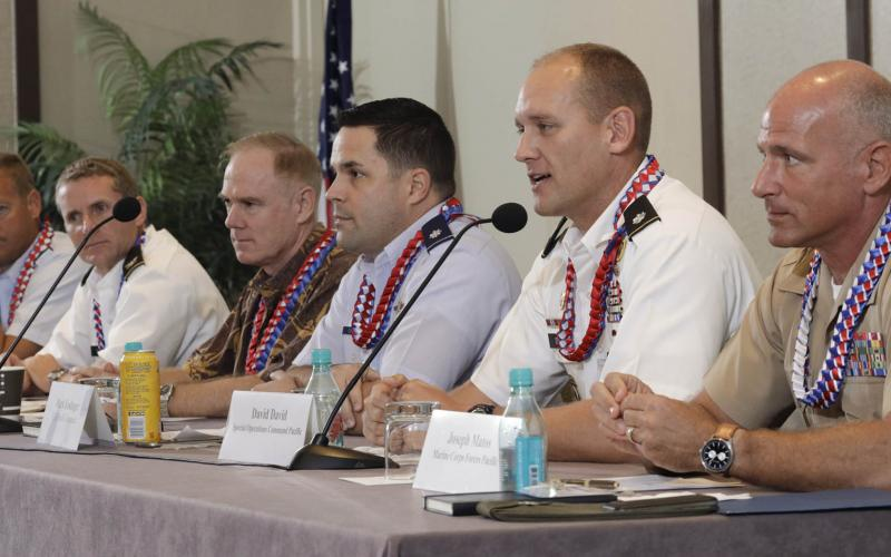 A panel discusses challenges in cyber domain at AFCEA TechNet Asia-Pacific in Hawaii. Photo by Bob Goodwin