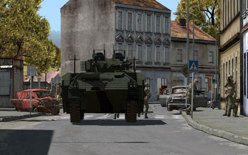 Virtual Reality Land Training (VRLT) technology enables soldiers to train in a variety of environments, including urban streets. (Photo by BiSim)
