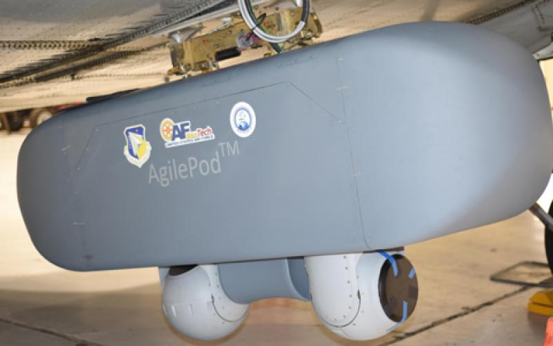 The AgilePod, the first physical system to be trademarked by the Air Force, is a multiintelligence pod. A new effort to develop a suite of platform-agnostic AgilePods in various sizes is currently in progress, teaming AFRL with industry partners. (U.S. Air Force photo/David Dixon)