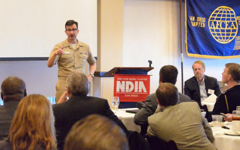 "Rear Adm. Christian Becker, USN, commander, Space and Naval Warfare Systems Command (SPAWAR), discusses the defense industry's role executing the Chief of Naval Operations ""A Design for Maintaining Maritime Superiority 2.0"" during a combined AFCEA and NDIA event. SPAWAR works closely with industry to provide the tactical networks, space systems and C4ISR technology assets and services U.S. Navy fleet operators require. U.S. Navy photo by Rick Naystatt/Released"