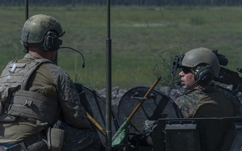 Marines with 2nd Marine Division conduct a light armored vehicle (LAV) crew gunnery atn Camp Lejeune, North Carolina, last June. A new tactical communications system for LAVs that the service will field increases situational awareness and communication capabilities for warfighters. Photo credit: U.S. Marine Corps photo by Lance Cpl. Nathaniel Q. Hamilton