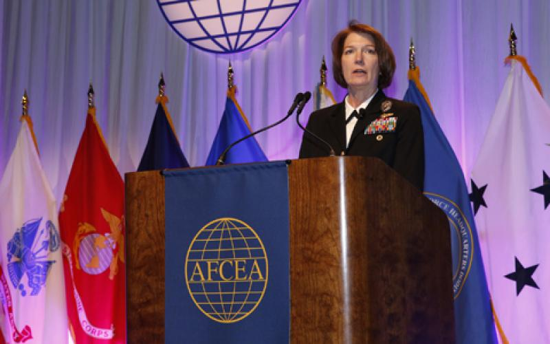 Vice Adm. Nancy A. Norton, DISA director and commander of the JFHQ-DODIN, discusses DISA's workforce needs at TechNet Cyber. Photo by Michael Carpenter