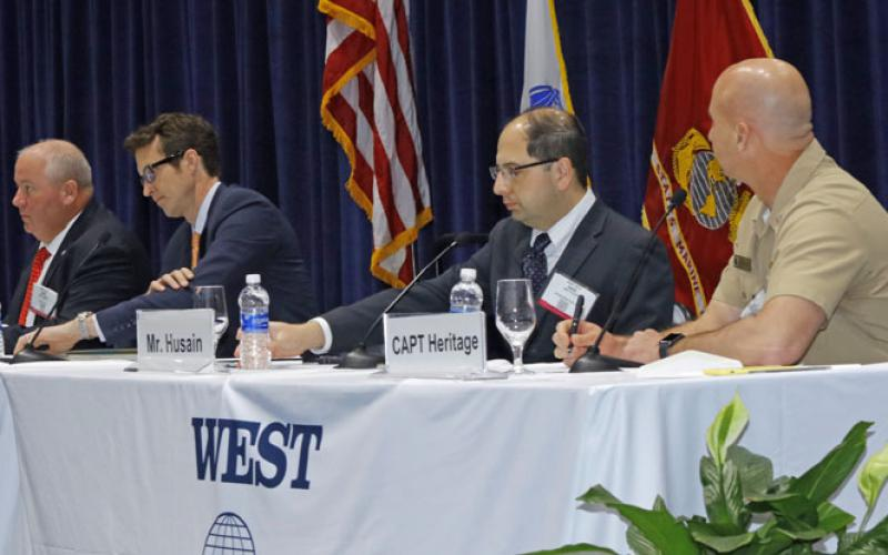 Hyperwar and its ramifications were the subject of a West 2018 panel comprising (r-l) Capt. Sean Heritage, USN, Navy and IT portfolio lead, DIUx; Amir Husain, founder and CEO, SparkCognition; August Cole, senior fellow, Avascent/Atlantic Council; and panel moderator Capt. David Adams, USN (Ret.), program manager, Western Pacific Oceaneering.
