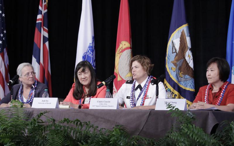 A group of dynamic and successful women leaders gathered to help advance educational topics during AFCEA TechNet Asia-Pacific. From l to r: Cindy Moran, Jodi Ito, Col. Claire Cuccio, USA, and Miyi Chung.
