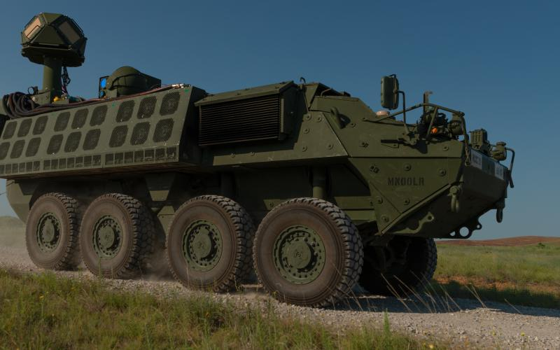 The U.S. Army's DE M-SHORAD air defense system, comprising a laser-equipped Stryker, is slated to be deployed in prototype form in 2022. Credit: U.S. Army photo