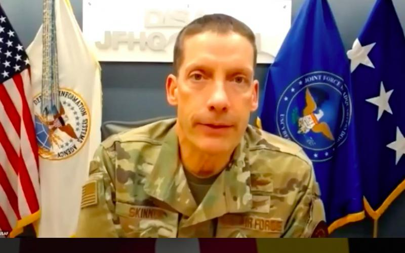 Lt. Gen. Robert Skinner, USAF, director of the Defense Information Systems Agency and the Joint Force Headquarters Department of Defense Information Network, highlights agency priorities and focus areas during a virtual luncheon session hosted Thursday by AFCEA's Central Maryland Chapter.