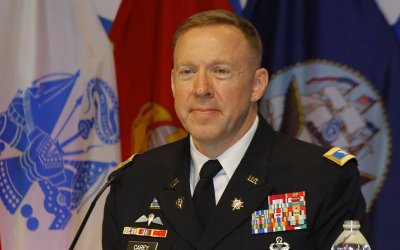 Col. Casimir Carey, USA, director, Intelligence, J-2, JFHQ-DODIN, participates in a panel at DCOS.