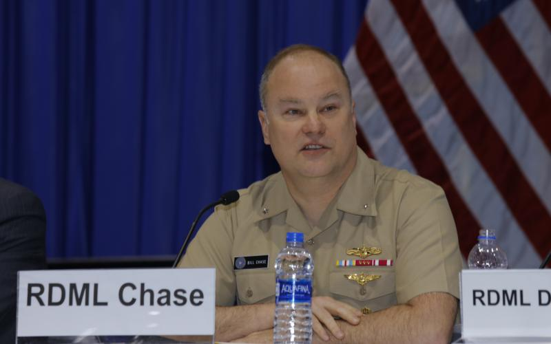 Rear Adm. William Chase III, USN, deputy director for command, control, communications and computers/cyber, J-6, Joint Staff, speaks on a cyber-focused panel at West 2019. Photo by Michael Carpenter