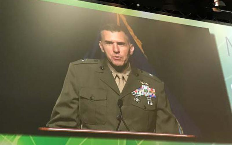 Brig. Gen. Dennis Crall, USMC, director C4/CIO, speaks at MILCOM in Baltimore.