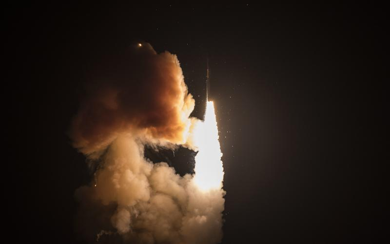 An unarmed Minuteman III launches during a developmental test at Vandenberg Air Force Base, California, last year. The U.S. Strategic Command (STRATCOM) is modernizing both its weapon systems and their accompanying Nuclear Command, Control and Communications (NC3). Credit: Air Force photo