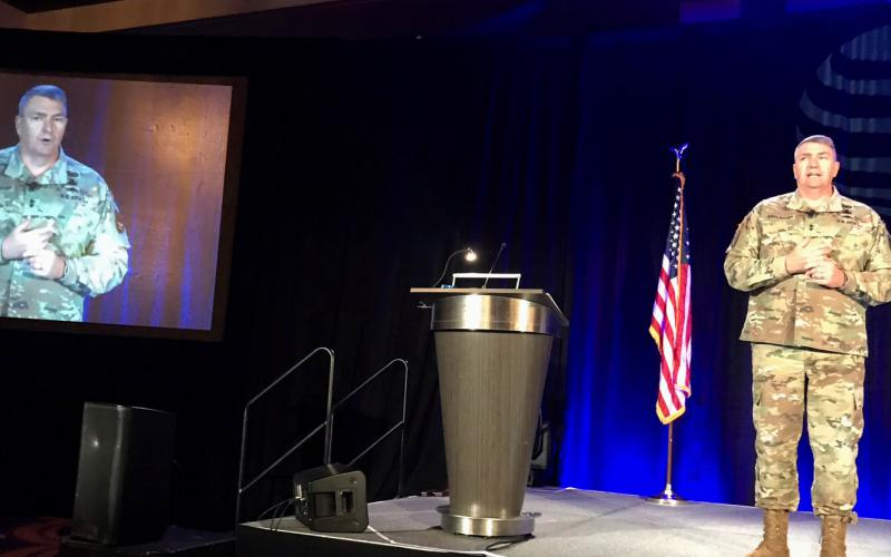 Maj. Gen. Peter Gallagher, USA, director, Network-Cross Functional Team, speaking at AFCEA International's Alamo Chapter ACE 2019 event in San Antonio, Texas on November 20, tells the industry that the service is pursuing its next round of advanced tactical technologies from the industry.