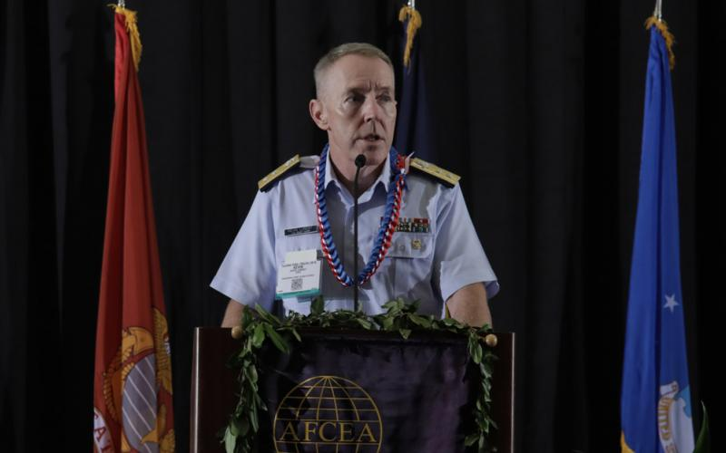 Rear Adm. Kevin Lunday, USCG, commander, 14th Coast Guard District, describes the service's expanding mission in the Indo-Pacific region. Credit: Bob Goodwin Photography