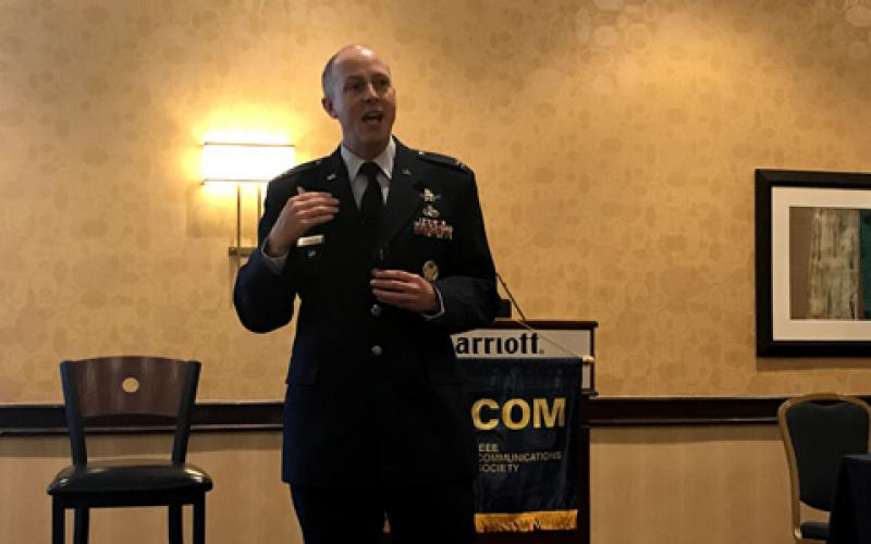 Col. James Reynolds, USAF, emphasizes that the Air Force can't develop satellite communications like they did in the past, signaling a move away from single providers in some cases.